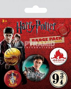 Harry Potter Gryffindor 5 round Pin Badges in Pack (py)